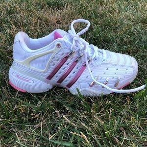 Pink Metal Adidas Barricade Sneakers